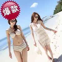 2014 women sexy bikinis crochet cover up three pieces set swimwear push up swimsuit