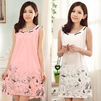 New 2014 summer one piece casual dress modern sexy sleeveless 100% summer cotton gown vest sleepwear nightgown lounge