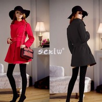 2014 Winter Dress Hot sell Women's Woolen Warm Winter Luxury Long Coat Jacket Trench Slim Fit Women's Coats