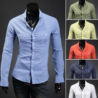 Hot Sale Free Shipping Men Long Sleeve Slim Fit Dress Shirts Linen Cotton Men Shirt 6 Colors Size M L XL XXL