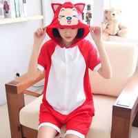 New 2014 fashion cartoon animal one piece sleepwear short-sleeve 100% cotton lovers fox lounge casual dress clothing set