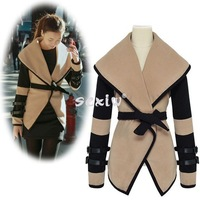 2014 Women Coats Winter dress New Womens Ladies Turn-down Collar Big Lapel Belted Jacket Coat Outerwear
