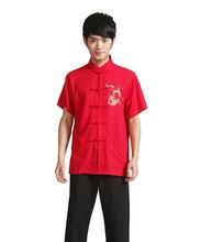 homens masculinos kung fu tai chi top algodão camisa manga curta de vestuário da china(China (Mainland))
