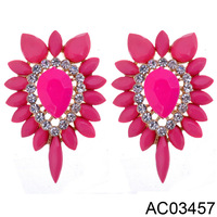 New Trendy Luxury Flower Shape Alloy Acrylic With Rhinestone Dangle Earrings Pink Big Earrings for Women,AC03457