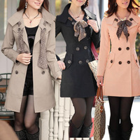 2014 New Spring Autumn Womens Ladies Classic Long Sleeve Slim Fit OL Trench Double Breasted Coat with Scarf Outwear Top