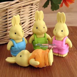 20pcs/lot Creative Stationery Cute Cartoon Rubber Detachable Rabbits Erasers For Kids Wholesale(China (Mainland))