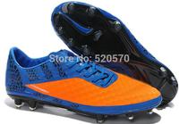 New 2014 Soccer Shoes Men Cheap Athletic Ball Cleats Night Lighted Fashion Sports Boots Orange Blue Hypervenom Phantom FG Cheap