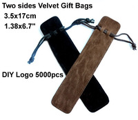 High quality Velvet Gift Bags Wholesales, DIY Custom logo velvet pen packing Bags, 3.5x17cm bags