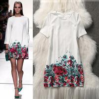 2014 New European Star Style Summer leisure fashion women flower printing round collar short sleeve dress,WD0132