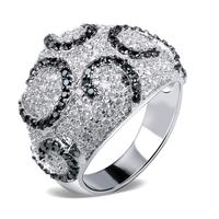 Free shipping Latest Fashion Black+White Cubic Zirconia Stone Fashion rings vintage rings for women Allergy Free Cadmium Free