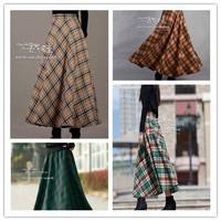 FREE SHIPPING!!!  autumn winter vintage plaid skirt bust skirt skirts expansion woolen full skirt