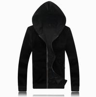 new spring 2014 men's hooded fleece Han edition cultivate one's morality black fleece jacket