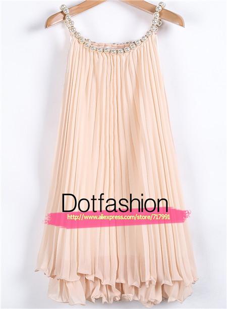 Nouveau 2014 été, féminine's élégante. hot top occasionnelsprix abricot perles. plissée en mousseline de soie une robe en ligne