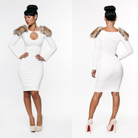 Sexy White With Fur Bodycon Stretchy Club Party Dress Women's Tight Clubwear Clothing Bandage Dresses KM051 Free Shipping
