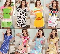 New 2014 fashion Summer dress sleepwear female one piece modal short-sleeve cartoon clothing nightgown sexy lounge t-shirt women