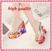 2014 New Fashion Women's Transparent Wedge Heel Jelly Sandals Slides Sexy Flower Print Platform Wedges Lady  High Heels Z712