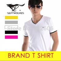 men's tops septwolves famous brand t shirt 2014 new v neck  men's t shirt mens la cotton t shirt  male shirt camisa short sleeve