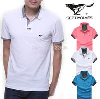 septwolves famous brand t shirt 2014 new plus size men's t shirt mens la cotton t shirt  male shirt camisa short sleeve