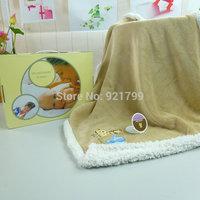 Retail pink embroidered children's blankets, baby travel blanket,  Nursery baby warm blanket, baby blanket gift box 100 * 70cm