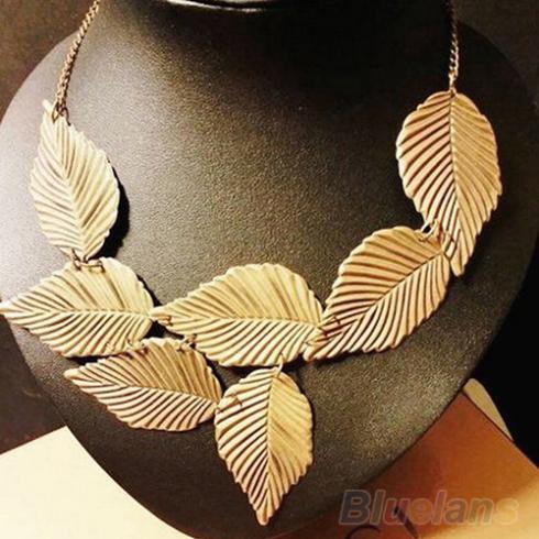 Trendy Women Bohemia Leaves Leaf Multilayer Pendant Chain Bib Choker Necklace Jewelry 08BC