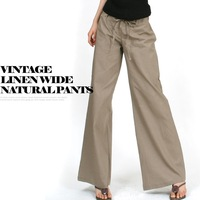 New 2014 Summer Fashion Casual Cotton Loose Wide Leg Pants Drawstring Plus Size Pants & Capris Trousers for Women Girl