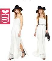 Export brand 2014 high waist Womens spaghetti strap V neck Serrated hem maxi dress,Side Slit Open long dress,white