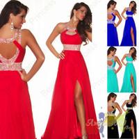 Abendkleider Natural Chiffon Floor-length A-line Sleeveless Beading Sale Halter Zuhair Murad Backless Fashion Prom Dresses 2014
