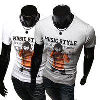 2014 Hot Sale Rushed Freeshipping Casual Broadcloth Cotton O-neck Short Music Print Short-sleeve Slim T-shirt