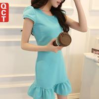 Qct 2014 spring one-piece dress short-sleeve slim women's basic ruffle dress
