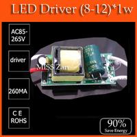 10pcs/lot (8-12)X1W led driver transformer  8w 9w 10w 11w 12w  lamp driver 85-265V input for E27 GU10 E14 LED lamp high quality