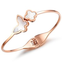 Butterfly Clover Rose Gold Plated Stainless Steel Women Bangle Perfect Birthday Gift For GF And Mothers Bracelet Bangles