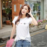 2014 spring and summer sweet cartoon small fish short-sleeve o-neck T-shirt female 100% cotton basic shirt