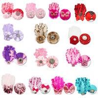 7pcs diffrent colors baby ribbon bows & clip,Baby Girl pin wheel Hair Bows Clips,Baby Boutique bows hair pins