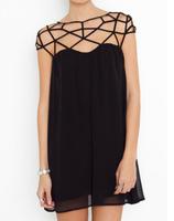 Summer New 2014 Sexy Women Clothing Vintage Club Chiffon Cobweb Grid Hollow Girl Dresses Casual Black Mini Formal Dress T-380