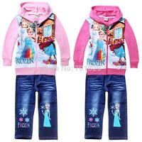 Free Shipping!New Arrival Frozen Children Jackets+Jeans Fresh Spring Suit Pure Cartoon Clothing Sets Kids Suit 6 Set/Lot