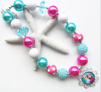 Newest!2PCS/Lot Frozen Elsa&Anna chunky bubblegum bead necklace,bubble gum necklace for kids girl jewelry!
