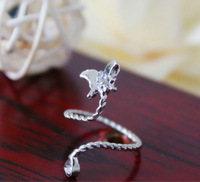 Free Shipping Top Above Ring Knuckle Rhinestone Silver Butterfly Twisted Band Midi Finger Nail Ring