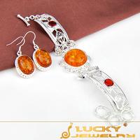 2014 Wholesale Fashion Jewelry  Handmade Amber Silver Sets (Bracelet & Earring Sets) F065 Free Shipping