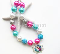 Factory price!2PCS Elsa&Anna Frozen chunky bubblegum bead necklace,bubble gum necklace for kids girl jewelry!