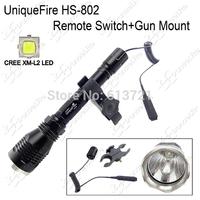 500Meters Long Range Light UniqueFire HS-802 CREE XM-L2 U3 LED Hunting Flashlight + Remote Switch + Gun Mount Holder