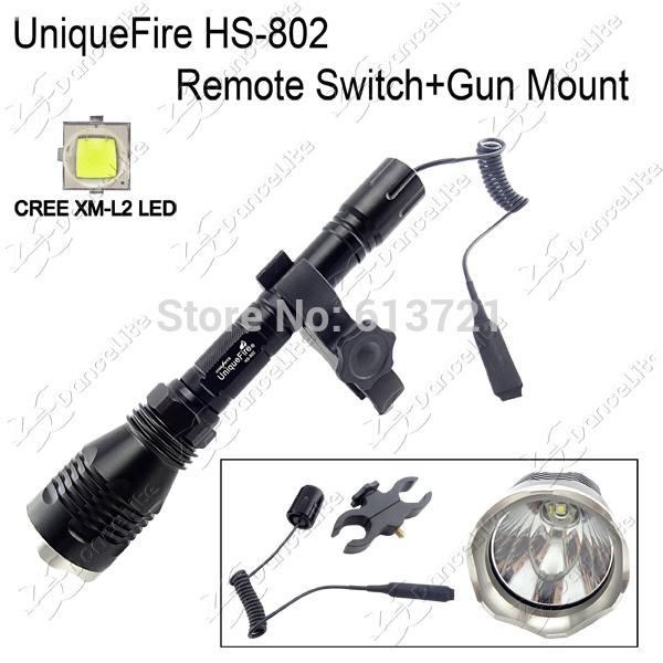500Meters Long Range Light UniqueFire HS-802 CREE XM-L2 U3 LED Hunting Flashlight + Remote Switch + Gun Mount Holder(China (Mainland))