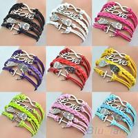 Mix Women Infinity Anchor Love Owl Charm Bracelet Handmade friendship Cuff Chain Hot Selling 0395