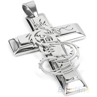 Men's Silver Stainless Steel Dragon Cross Necklace & Pendants Chain  0374