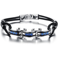 2014 Hot Sale top quality Silicone women bracelet bangle inlaid with blue stone titanium steel N830