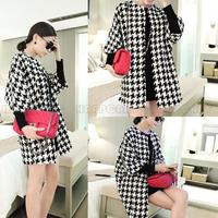 Retro Vintage Women Ladies Spring Autumn Regular Casual Loose Plaid Pattern Coat Jacket Outerwear Tops BPQ64901