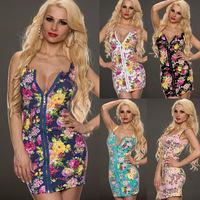New Arrival 2014 Plus Size Women Hot Sexy Mini Zipper sleeveless Bodycon Dress M XXL Multi Floral Printed Sundress Free shipping
