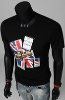 Free Shipping 2014 New Arrival Men's Short Sleeve T shirts, Vintage Classic England Flag Men's Casual T shirts#H123
