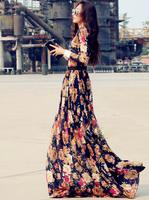 New 2014 long evening dress formal with lace flowers  dress party evening elegant vestido de festa gowns celebrity dresses