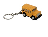 Metal Diecast School Bus Pull Back Action Car Toy Model Keychain with Key Ring