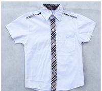 New Hot  Children Shirts England Style Boys Shirts Fit 2-6Yrs Kids Cotton Plaid Shirts Baby Short Sleeve Shirt Baby Clothing